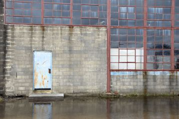 Flooded warehouse on the outskirts of the city