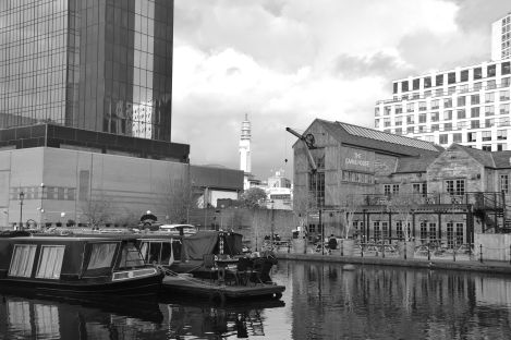 Black and white reflections on the canal