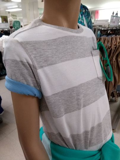 Close-up of boys styling - layer two t-shirts and roll sleeves to give colour contrast