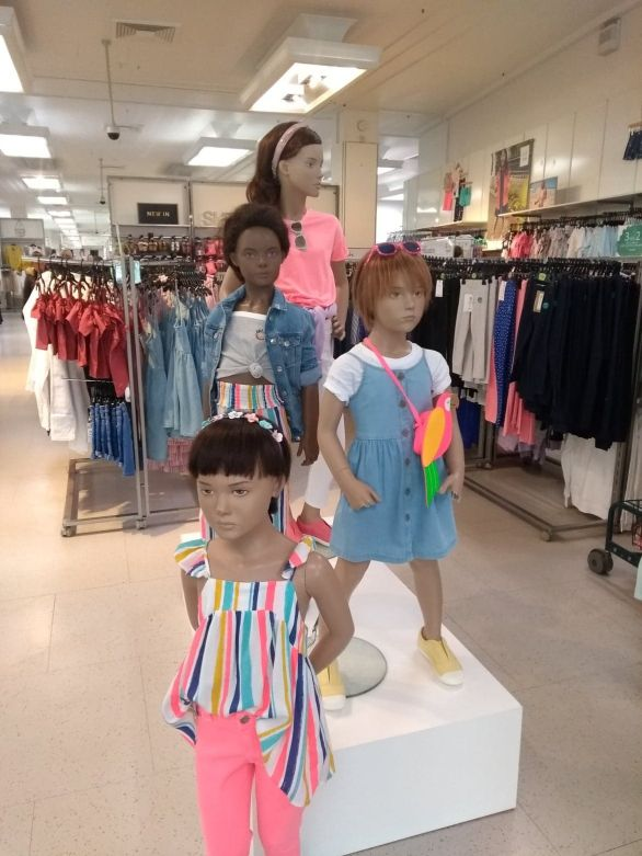 Girls mannequins re-vamped to be more colourful and trendy