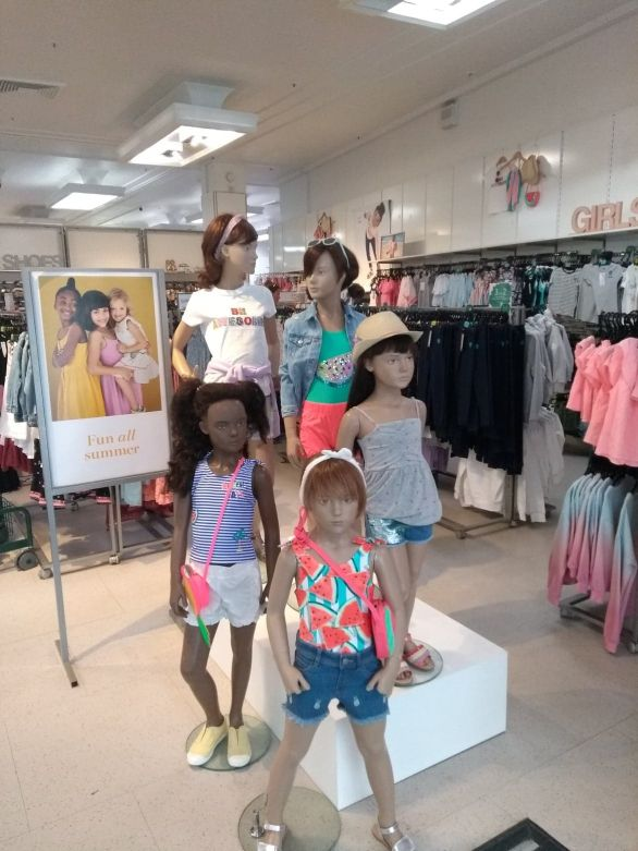 Girl mannequins changed to push swimwear + shorts